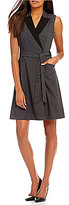 Calvin Klein Faux-Wrap Belted Dress