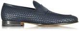 Santoni Blue Woven Leather Loafer Shoes