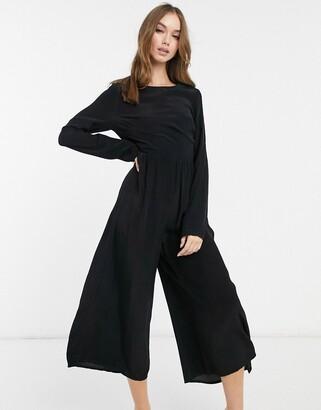 ASOS DESIGN long sleeve button back tea jumpsuit in black