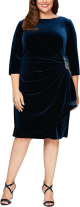 Alex Evenings Velvet Long Sleeve Sheath Dress