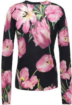 Dolce & Gabbana Floral-print Cashmere And Silk-blend Sweater