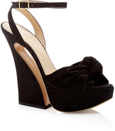Charlotte Olympia Vreeland Black Suede Platform Sandals