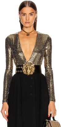 Gucci Long Sleeve Bodysuit in Black & Gold   FWRD