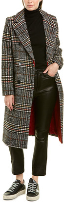 French Connection Long Plaid Wool-Blend Coat