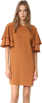Tibi Ruffle Sleeve Shift Dress