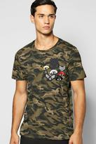 Boohoo Muscle Fit Camo Badge T Shirt