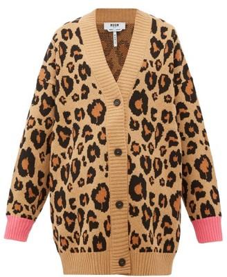 MSGM Oversized Leopard-jacquard Cotton-blend Cardigan - Womens - Beige Multi