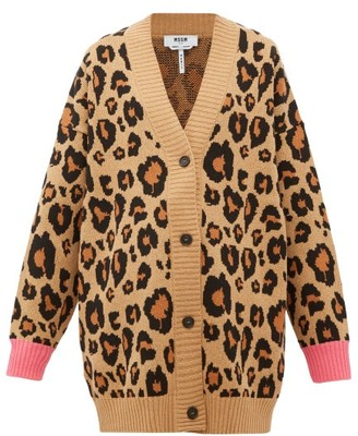 MSGM Oversized Leopard-jacquard Cotton-blend Cardigan - Womens - Beige Multi