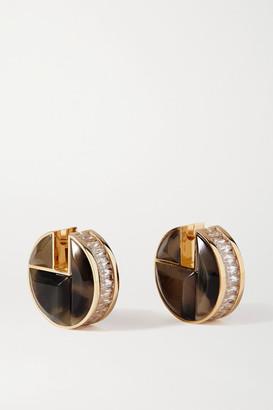 Bottega Veneta Gold-tone, Crystal And Tiger Eye's Earrings - Brown