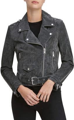 Andrew Marc Suede Belted Moto Jacket