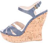 Miu Miu Printed Wedge Sandals