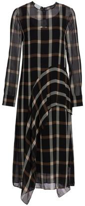 Akris Punto Plaid Ruffle Midi Dress