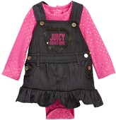 Juicy Couture Foil Dot Bodysuit & Denim Jumper Set (Baby Girls)