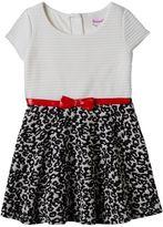 Nannette Toddler Girl Textured Stripe & Animal Print Dress