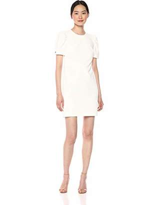 Calvin Klein Women's Short Sleeve Sheath with Crystal Button Dress