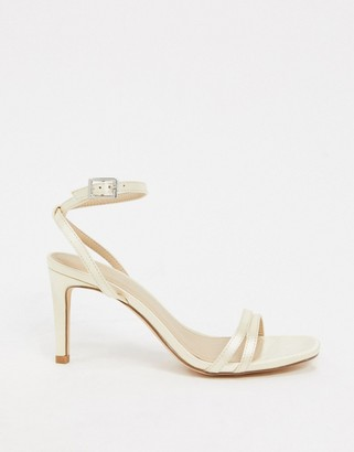 Truffle Collection bridal square toe strappy heeled sandals in ivory