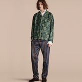 Burberry Striped Silk Cotton Pyjama-style Trousers
