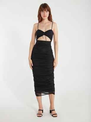 For Love & Lemons Poison Ruched Cutout Maxi Dress
