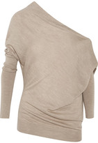 Tom Ford One-shoulder Cashmere And Silk-blend Sweater - Mushroom