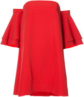 Milly flared ruffled sleeve dress - women - Polyester/Spandex/Elastane - 2