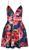 AX Paris Navy Floral Print Plunge Skater Dress