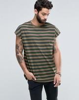 Asos Oversized Longline Sleeveless Stripe T-Shirt In Khaki