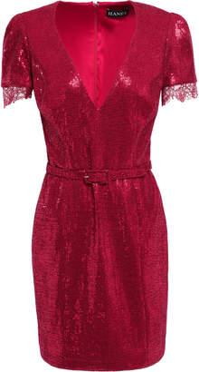 HANEY Edie Lace-trimmed Sequined Jersey Mini Dress