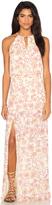 Bobi BLACK Printed Chiffon Sleeveless Front Keyhole Maxi Dress