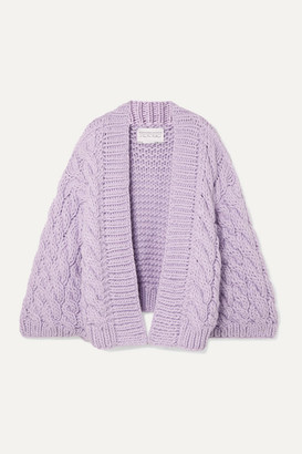 I Love Mr Mittens Cable-knit Wool Cardigan - Lilac