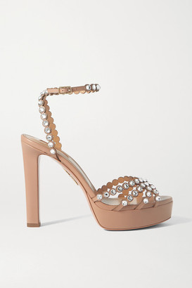Aquazzura Tequila Plateau 120 Crystal-embellished Leather Platform Sandals - Neutral