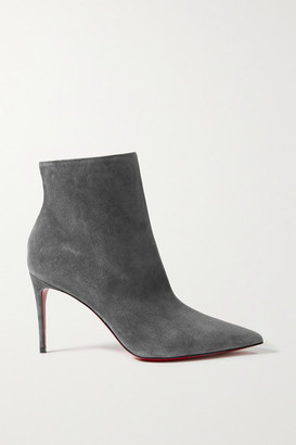 Christian Louboutin So Kate Booty 85 Suede Ankle Boots - Gray