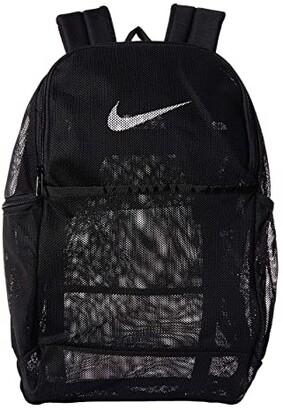 Nike Brasilia Mesh Backpack 9.0 (Black/Black/White) Backpack Bags