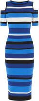 Karen Millen Cold-shoulder Stripe Dress - Blue/multi