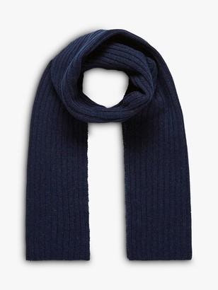 Brora Cashmere Rib Knit Scarf, French Navy