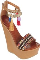 Lolli Couture FOREVER LINK OPEN TOE FAUX LEATHER ANKLE BUCKLE POM POM TASSEL ACCENT PLATFORM WEDGE 8 tan