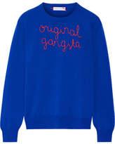 Lingua Franca - Original Gangsta Embroidered Cashmere Sweater - Cobalt blue