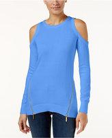 MICHAEL Michael Kors Zipper-Detail Cold-Shoulder Sweater
