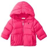 Ralph Lauren Infant Girls' Hooded Down Puffer Jacket - Sizes 6-24 Months