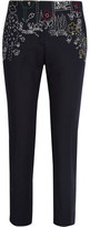 Mira Mikati Dot To Dot Embroidered Cotton-blend Twill Straight-leg Pants - Black