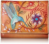 Anuschka Women's Hand Painted Rfid Blocking Small Flap French Wallet Flying Jewels Tan Coin Purse