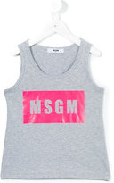 MSGM logo print tank top - kids - Cotton - 6 yrs