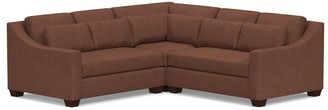 Pottery Barn York Slope Arm Deep Seat Leather 3-Piece L-Shaped Sectional with Corner
