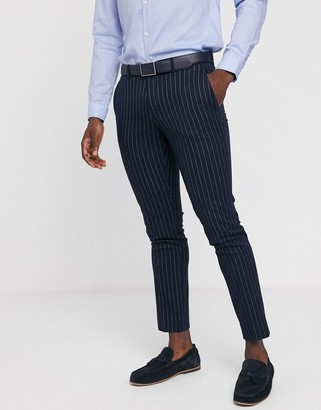Moss Bros skinny suit pants in navy pinstripe