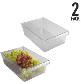 Kitchen Details Slim Refrigerator Storage Bins, Set of 2