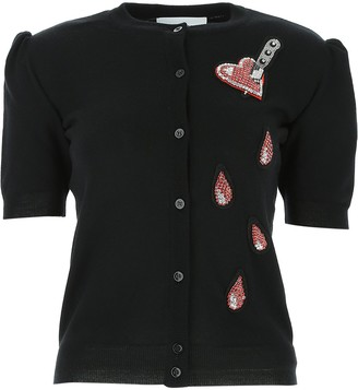 Moschino Heart Patch Short Sleeve Cardigan