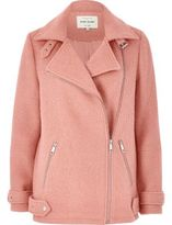 River Island Womens Pink wool blend aviator coat