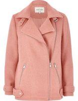 River Island Womens Pink wool blend aviator coat