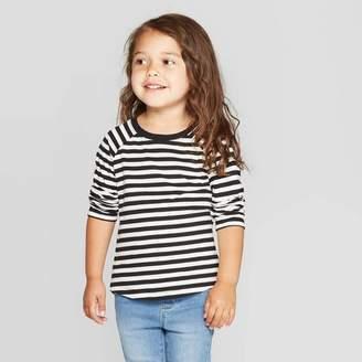 Cat & Jack Toddler Girls' Long Sleeve Striped T-Shirt - Cat & JackTM Black/White