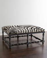 Horchow Massoud Zebra-Print Hairhide Bench