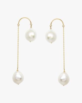 Poppy Finch Crescent Hi-Low Pearl Drop Earrings